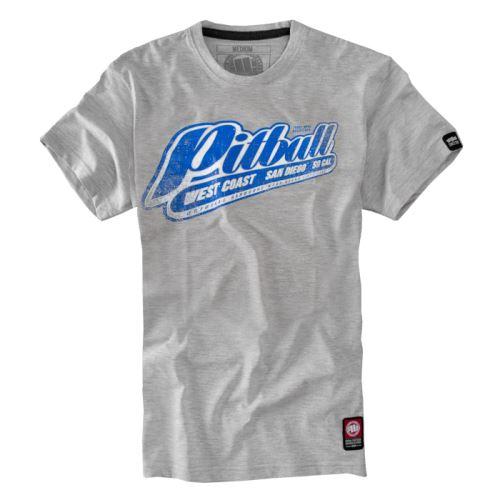 Tričko PitBull West Coast Blue Brand, šedá